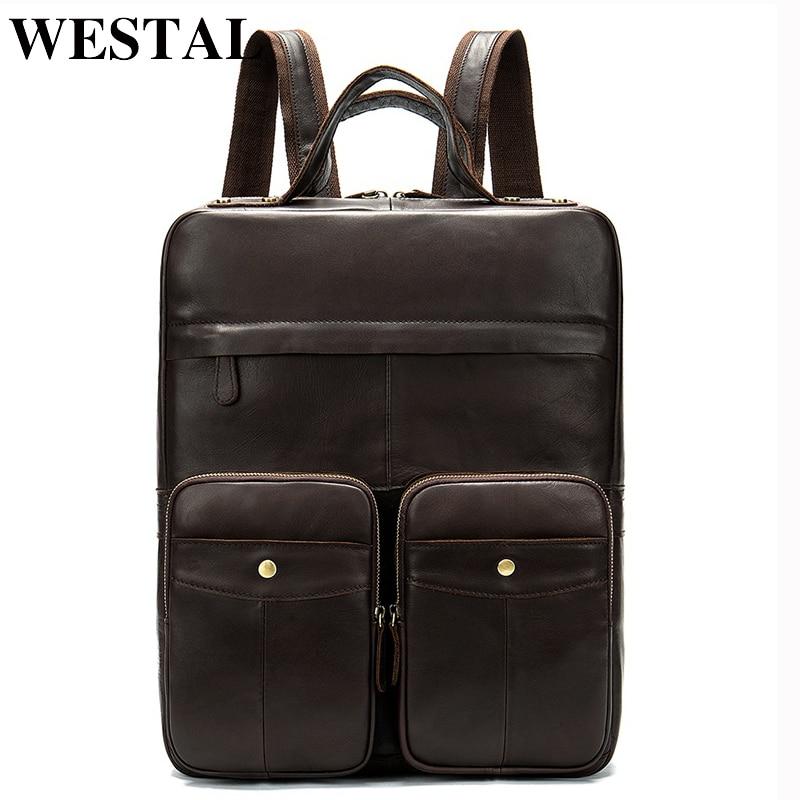 WESTAL الرجال جلد على ظهره المدرسة Bagpack حقيقية حقيبة ظهر من الجلد للمحمول للرجال حقيبة ظهر للسفر ل مراهق الرجال أكياس-في حقائب الظهر من حقائب وأمتعة على  مجموعة 1