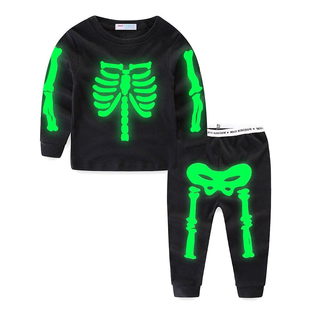 Mudkingdom Little Boys Girls Pajama Set Glowing Halloween Skeleton Fashion Kids Sleepwear Outfits 3