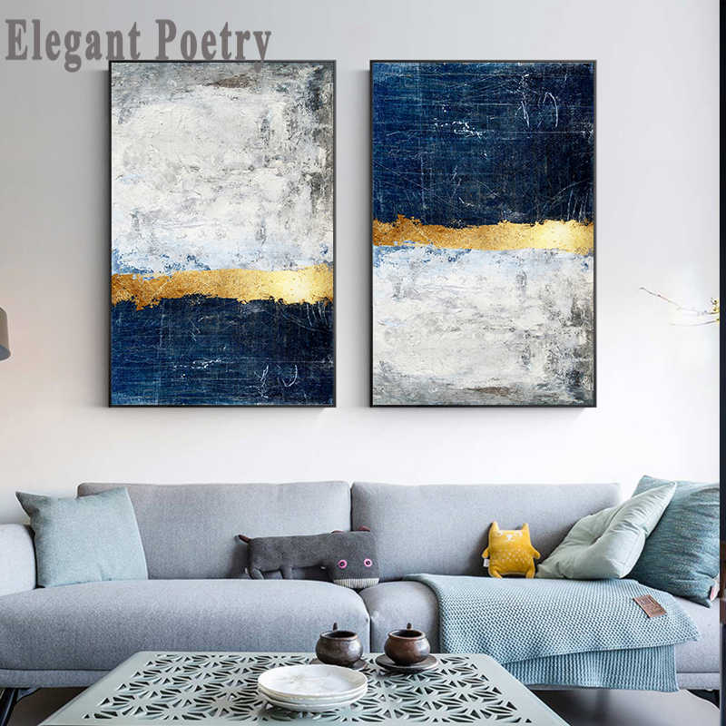 Abstract Goudfolie Blok Schilderij Blauw Poster Moderne Golden Wall Art Foto Voor Woonkamer Navy Decor Big Size tableaux