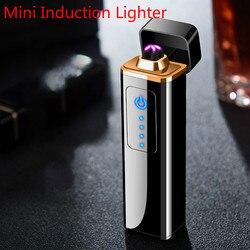 Mini zapalniczka plazmowa z podwójnym łukiem metalowa kwadratowa zapalniczka elektryczna akumulator zapalniczki USB wiatroszczelne akcesoria do palenia w Akcesoria do papierosów od Dom i ogród na