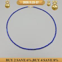 LiiJi Einzigartige Frauen Halskette Healing Stein Lapis Lazuli Ca. 2mm 925 sterling silber Gold Farbe Choker Tiny Glänzende Halskette