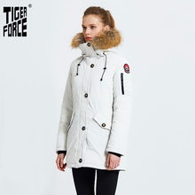 TIGER FORCE Winter Jacket for Women Parka Women's Warm Thicken Coat with Raccoon Fur Collar Female Warm Snowjacket Padded Coat