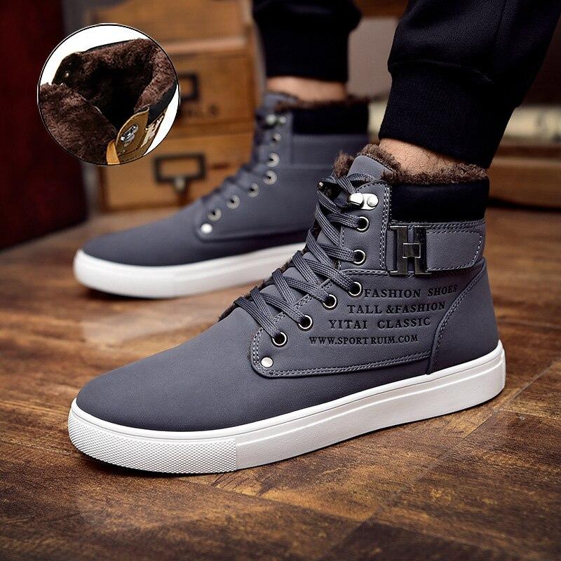 Men Snow Boots 2018 Fashion PU Warm Plus Velvet Ankle Boots Men Lace-up High Top Winter Boots Men Shoes Plus Size 39-47
