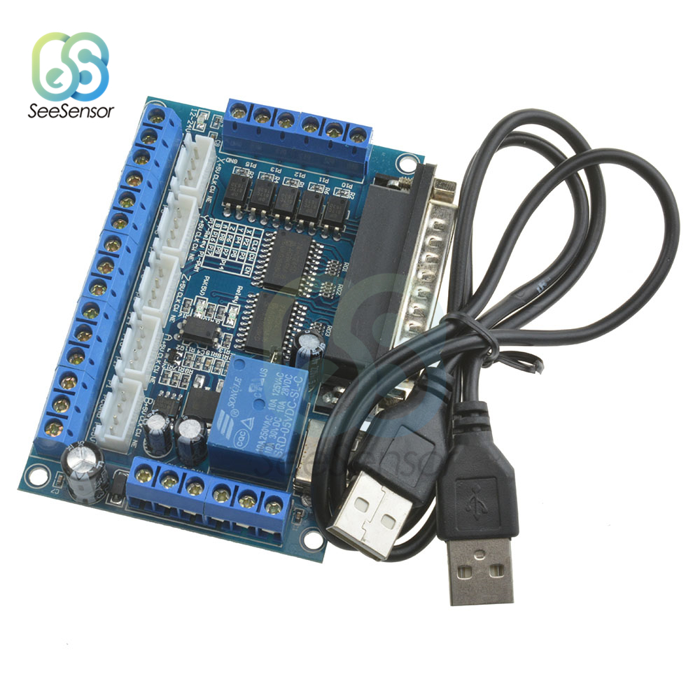 MACH3 CNC Breakout Board Interface With USB Cable Optocoupler Isolation Parallel Port Control 5 Axis Stepper Motor Driver Module