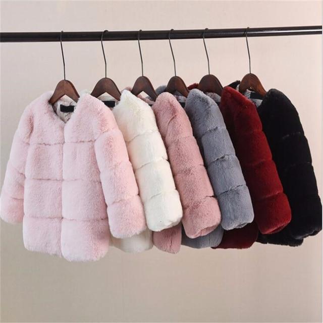 Dziewczyny futro kurtka dla dzieci topy ubrania 2020 nowe dziecko dzieci kurtki ciepły płaszcz ocieplany Solid Color chłopcy Faux futro odzież wierzchnia płaszcz