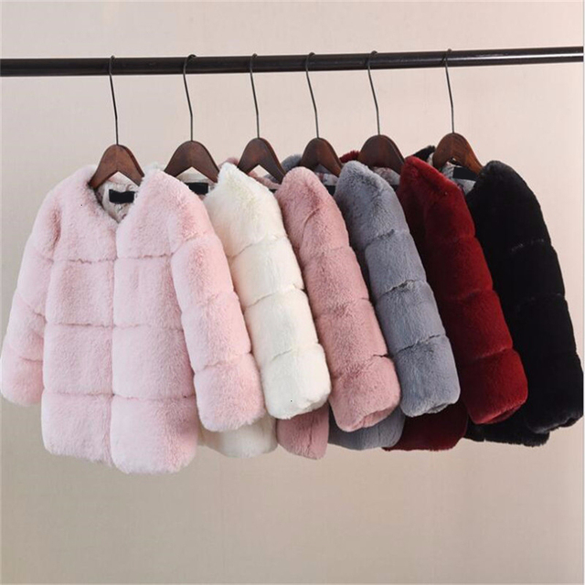 Girls Fur Jacket for Children Tops Clothes 2020 New Baby Kids Jackets Warm Thicken Coat Solid Color Boys Faux Fur Outwear Coat