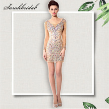 Newest Spring Summer Shining Cocktail Dresses Sexy Tulle Seq