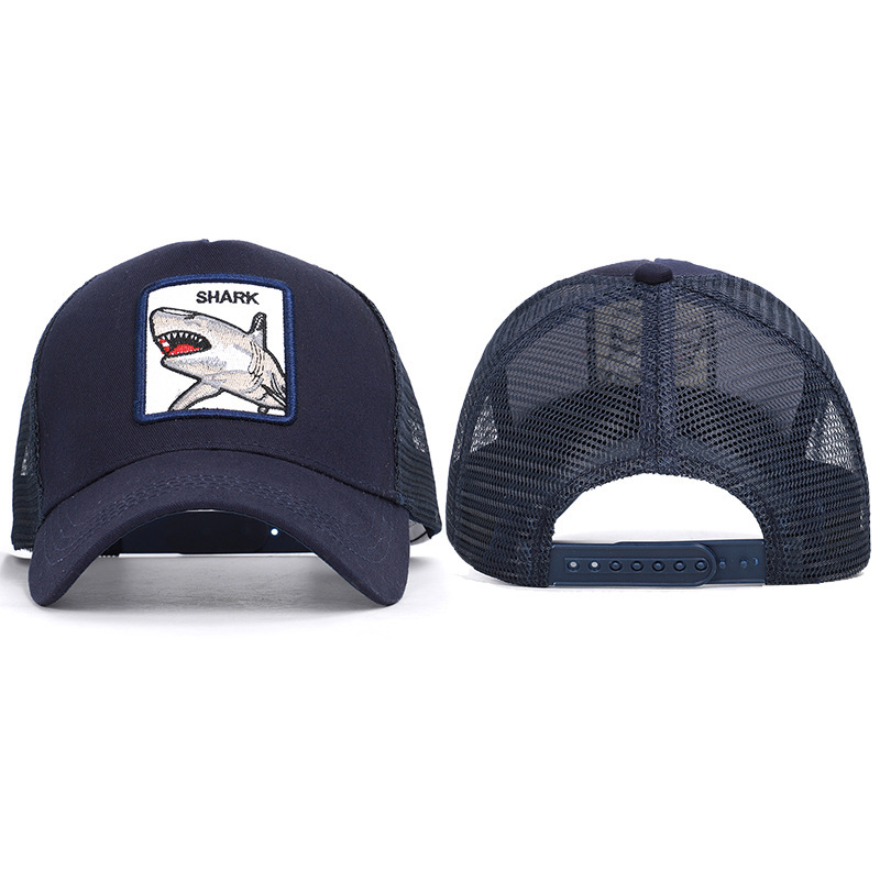 2020 New Arrival Dad Hat   Hot Style Shark Animals Spring And Summer Cap Breathable Mesh Cloth Embroidery Baseball