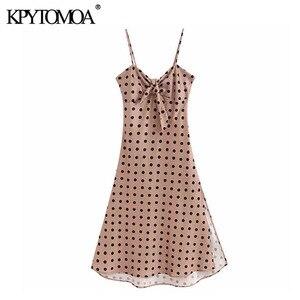 KPYTOMOA женское милое модное винтажное платье-миди в горошек с бантом и v-образным вырезом на бретельках, модель 2020