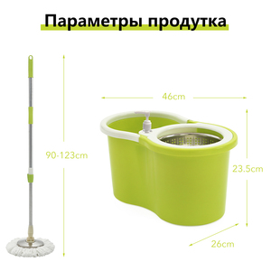 Image 5 - iFun spin Mop & bucket double drive with 2pcs microfiber mop heads floor cleaning system easy wring metal handle