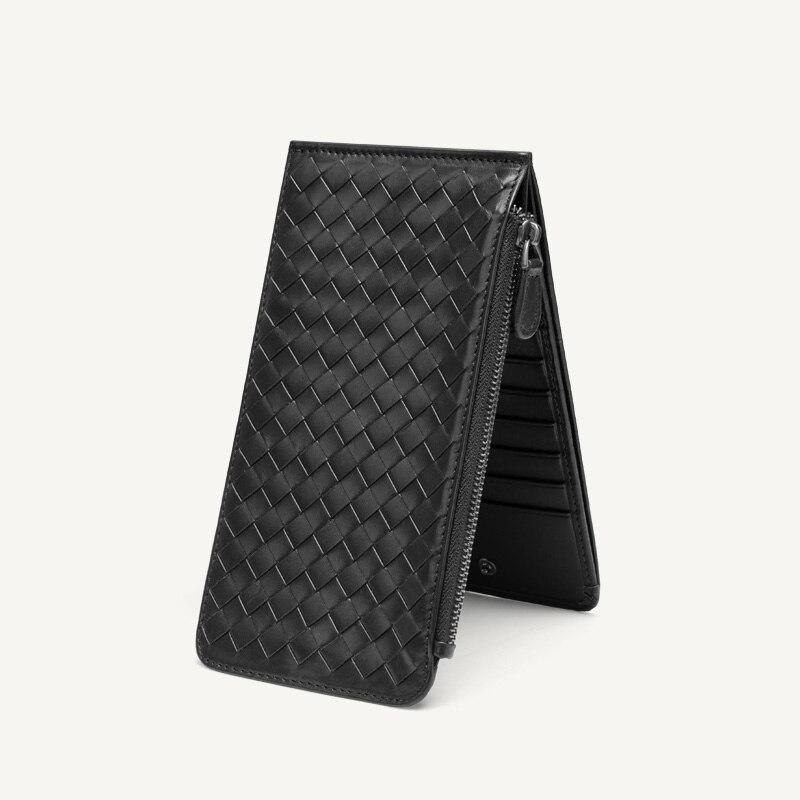Porte-carte hommes d'affaires sacs à main fermeture à glissière de haute qualité portefeuille Ultra-mince grande capacité sac à main homme en cuir à la main portefeuilles