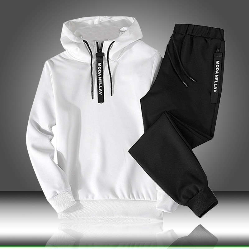 Drawstring Outfit Sportswear Sets Suit Hooded Two-Piece-Set Male Autumn Winter Casual