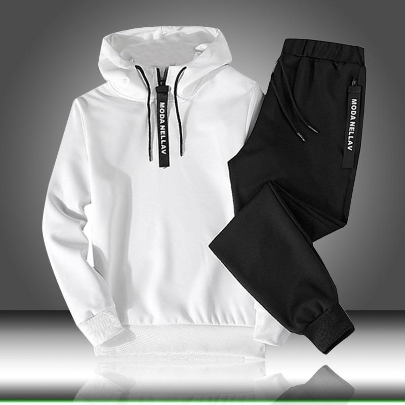 Sets Trainingsanzug Männer Herbst Winter Mit Kapuze Sweatshirt Kordelzug Outfit Sportswear 2020 Männlichen Anzug Pullover Zwei Stück Set Casual