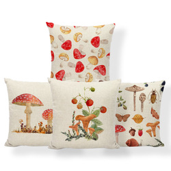 Personalized Fun Pillowcase Mushroom Leaf Snail Square Cartoon Cushion Cover Home Decoration Sofa 45*45Cm Polyester Linen Pillow