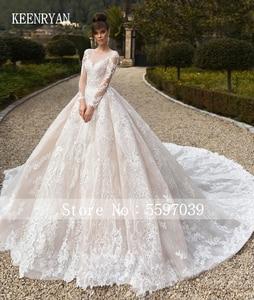 Image 2 - Vestido De Novia Luxury Lace Wedding Dress 2020 Long Sleeve Gorgeous Scoop Robe De Mariee Plus Size Chaple Train Wedding Gowns