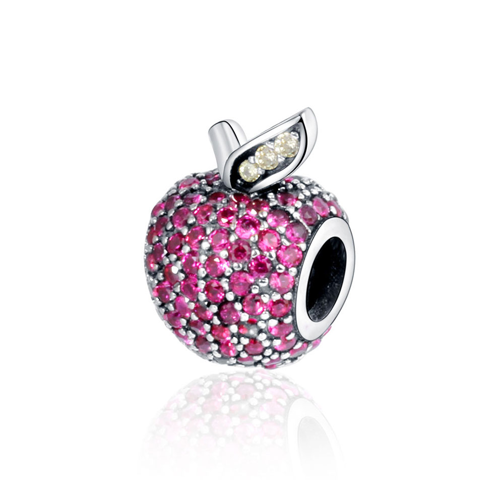 925 Sterling Silver Charms Fits Pandora Charm Bracelets Apple Paved Cubic Zirconia Women DIY Fashion Jewelry Findings Wholesale