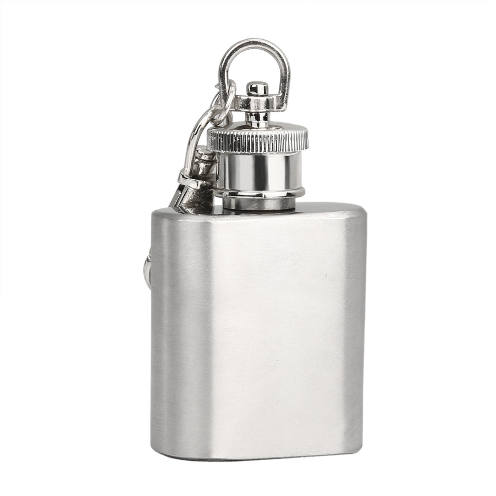 Silver Oil Jug Flagon High Quality 1 Pc Alcohol Flagon 1 Ounce With Keychain O3