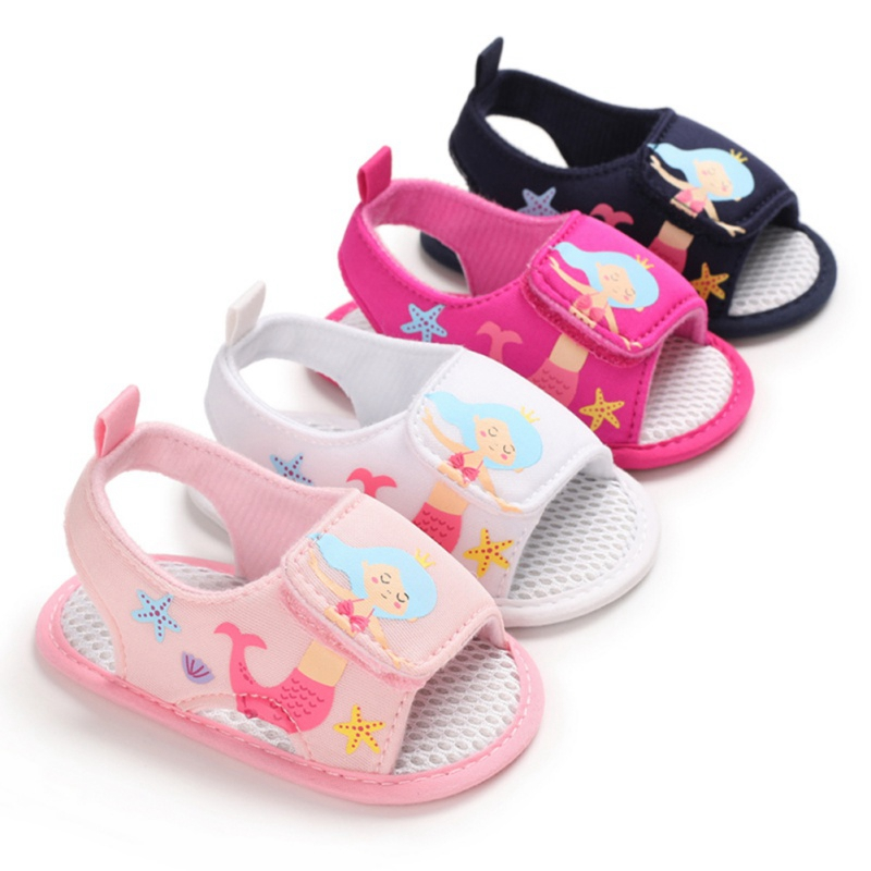 New Baby Girls Print Cartoon Princess Breathable Anti-Slip Summer Shoes Sandals Toddler Soft Soled First Walkers Shoes