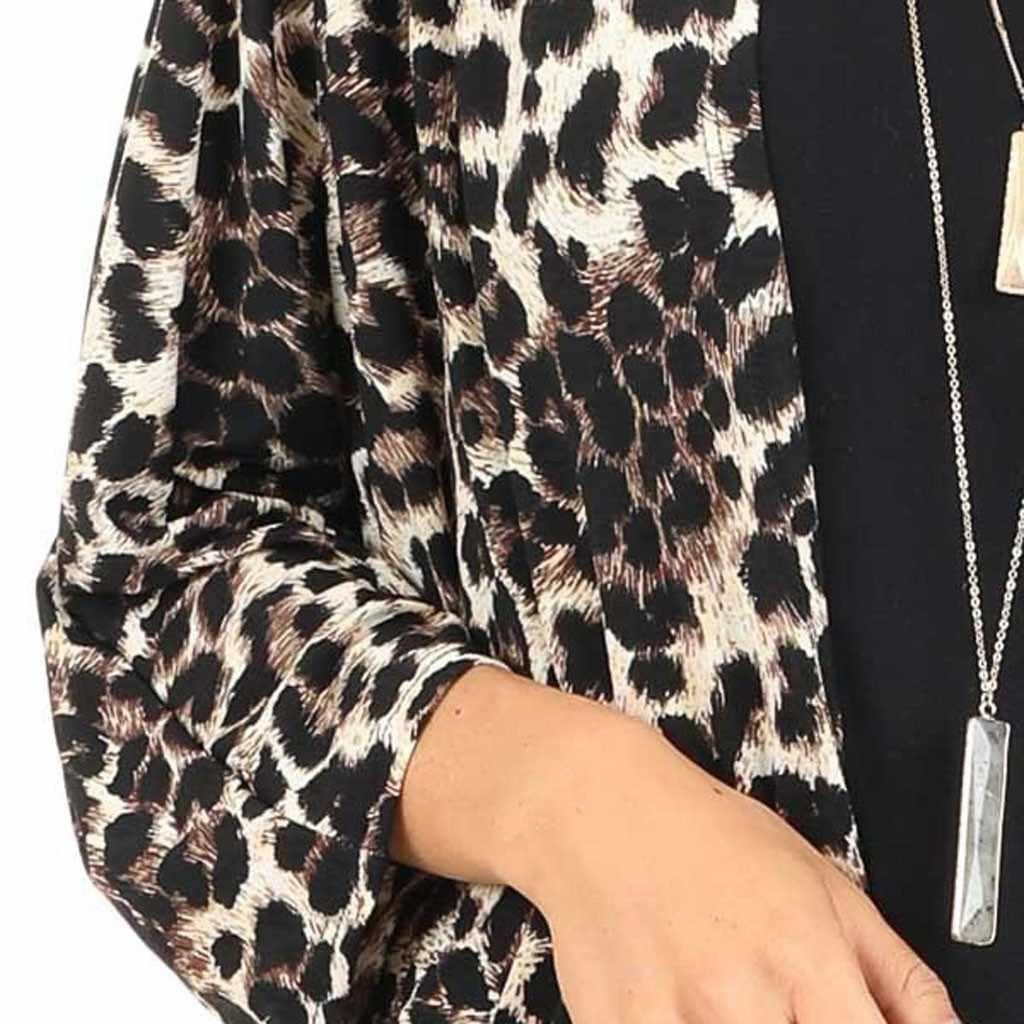 المألوف معطف المرأة الستر الأزياء القطن معطف ثوب ليوبارد طباعة نصف كم طويل جاكيتات معاطف غطاء الإناث #25