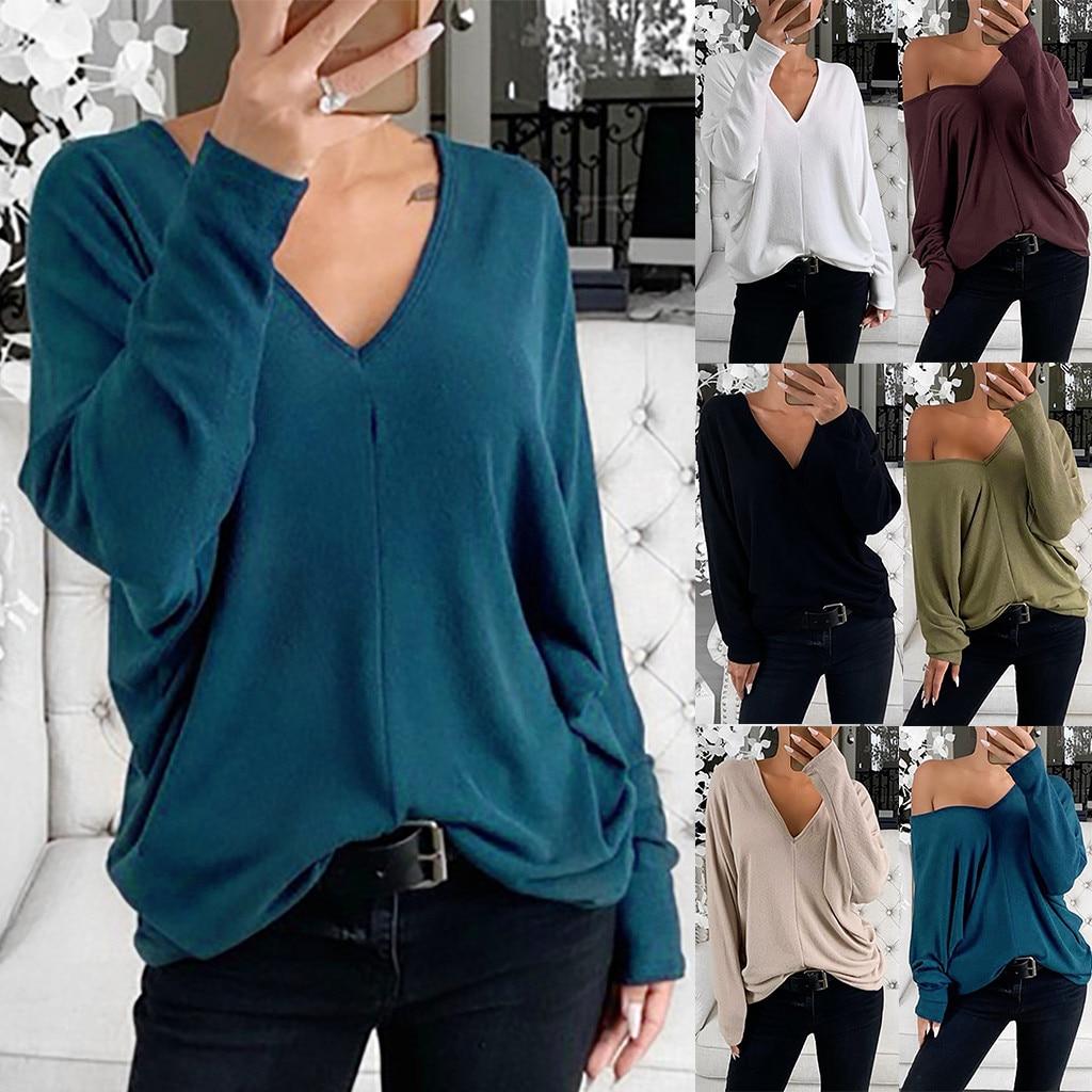 New Tshirt Women Ladies Loose Solid V-neck Long Sleeve Tops T-shirt Poleras Camiseta Mujer Top Women Harajuku T Shirt Haut Femme