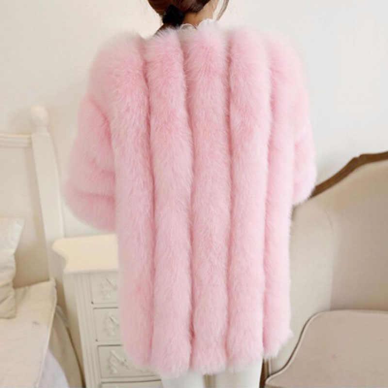 2019 зимние 5XL 6XL плюс Размеры зимняя куртка Для женщин розовая шуба Для женщин обувь на платформе из искусственного кроличьего меха; пальто длинный мнимый Меховая куртка