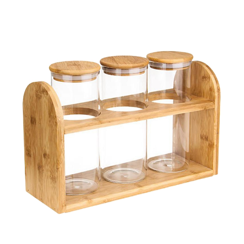 NHBR Home Storage Shelf Glass Food Storage Canisters Sealing Bamboo Cover Glass Jars Set Biscuits Candies Spices Cereals Contain