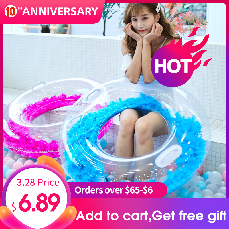 90cm Heart Round Sequin Swimming Ring Woman Inflatable Circle Swimming For Adult Pool Float Party Toys Beach Swim Ring Play Tool