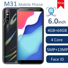 """M31 6.0 """"tam ekran küresel sürüm cep telefonları 4GB RAM 64GB ROM dört çekirdekli akıllı telefon 13MP arka kamera yüz kilidini WCDMA/GSM/LTE"""