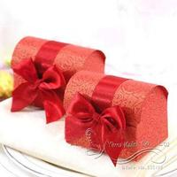 Wholesale and retail Red Pearl Paper The Treasure Chest Candy/Chocolate Box With Ribbon Bow Free Shipping