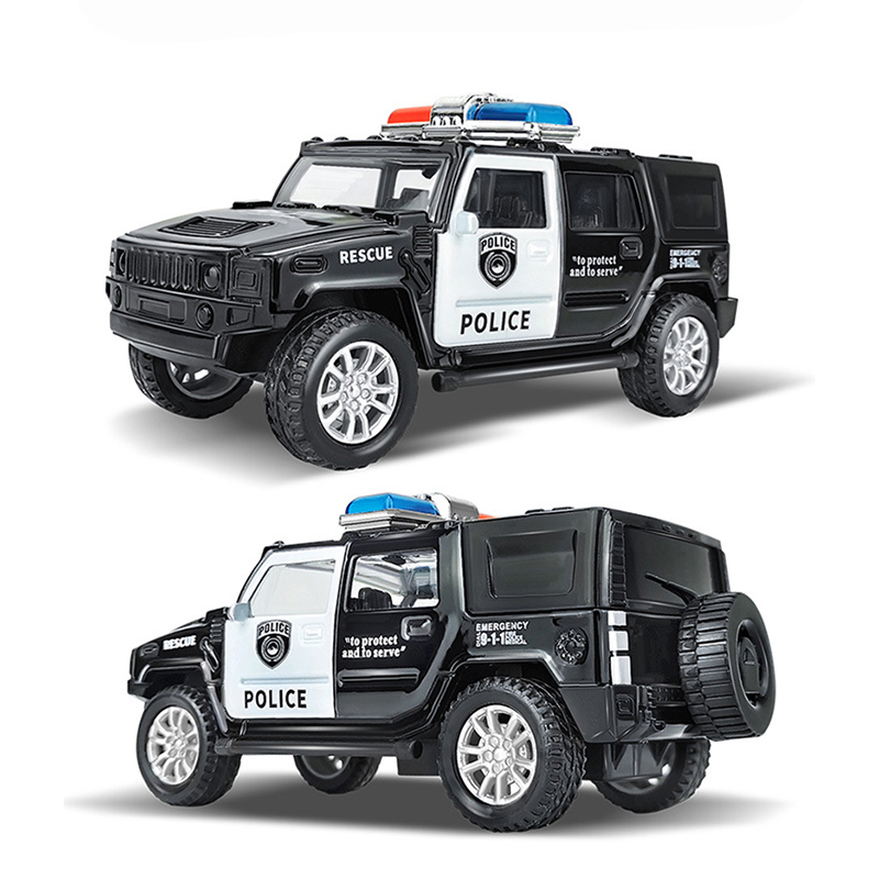1:43 Simulation Kids Police Toy Car Model Pull Back Alloy Diecast Off-road Vehicles Collection Gifts Toys for Boys Children S028