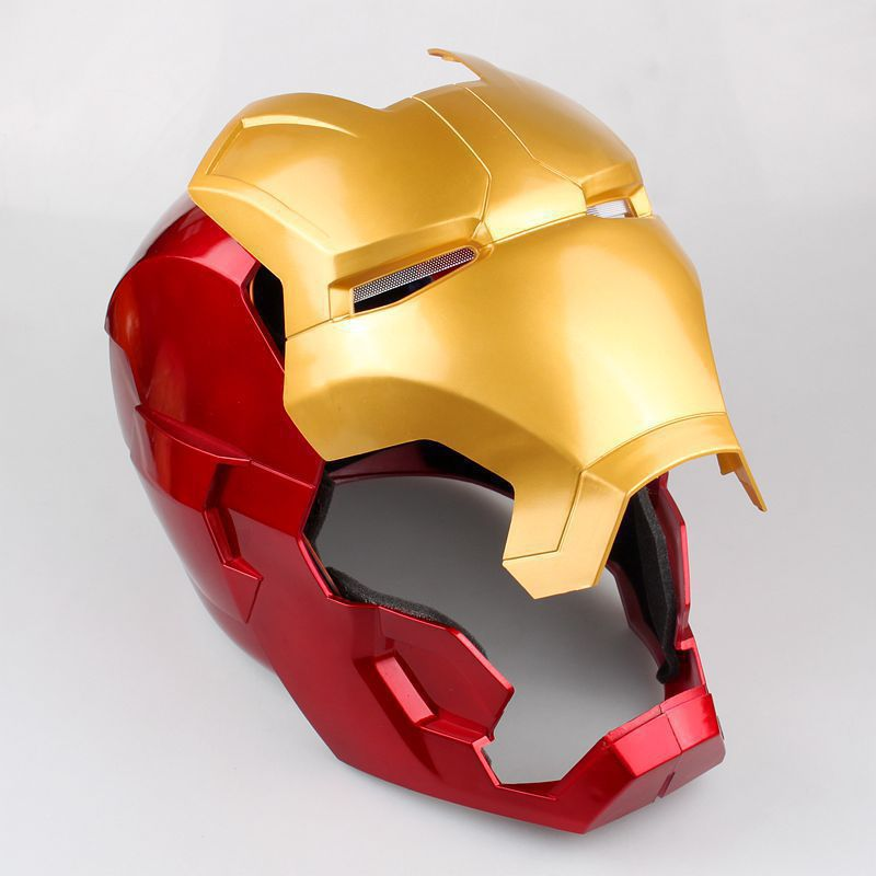[Funny] The avengers super hero Iron Man Helmet electronic Mask PVC Figure Toy with LED Light Collection Model adult Size 3