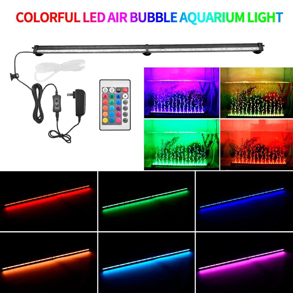 Expédition de nous LED Air bulle Aquarium lumière 76cm 91cm lumière sous-marine avec télécommande pour Aquarium L5