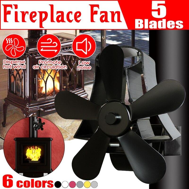 Wall Mounted 5 Blade Heating Fireplace Fan Fan Heating Fan Cooling Friendly Quiet Fan Heat Distribution Fan Wood Burner Tool