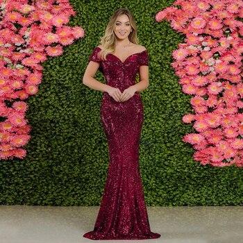 Slash neck long burgundy Sequin Dress off the shoulder floor length evening party dress gown burgundy ruffle design off shoulder mini dress