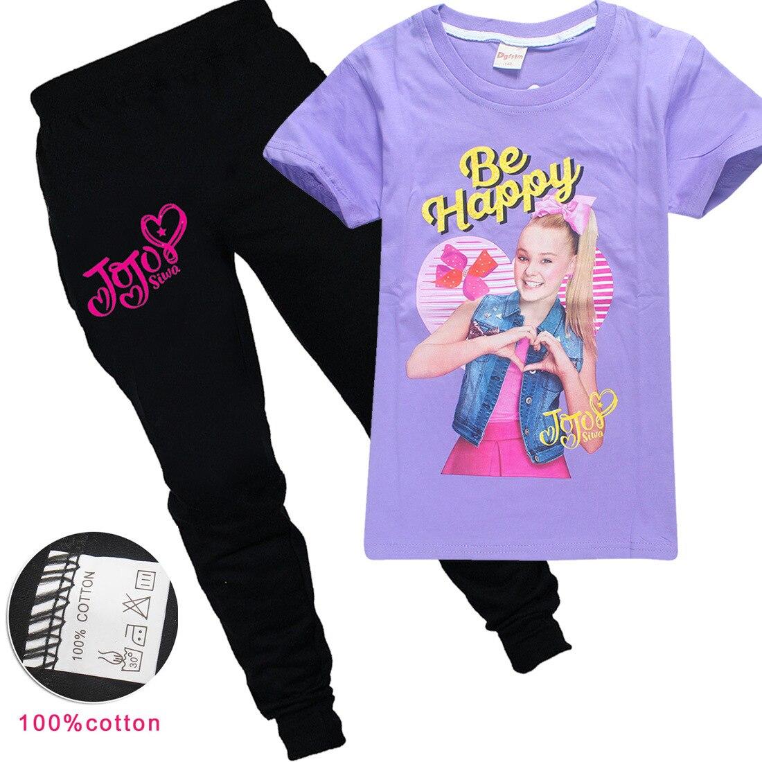 Коллекция 2019 года, летние детские футболки с рисунком JOJO SIWA хлопковые футболки с круглым вырезом для маленьких девочек комплекты с