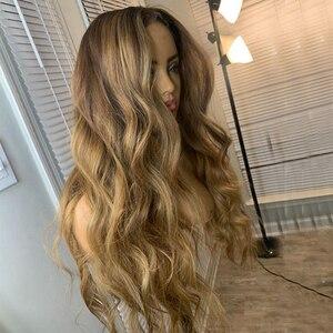 Pelucas transparentes de encaje 4T27 rubias Ombre cabello humano pelucas frontales de encaje onda suelta 180 densidad raíces oscuras pelo virgen brasileño