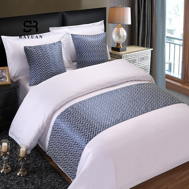 RAYUAN Blue Wavy Stripes Bedspread Floral Bed Runner Throw Bedding Single Queen King Bed Cover Towel Home Hotel Decorations