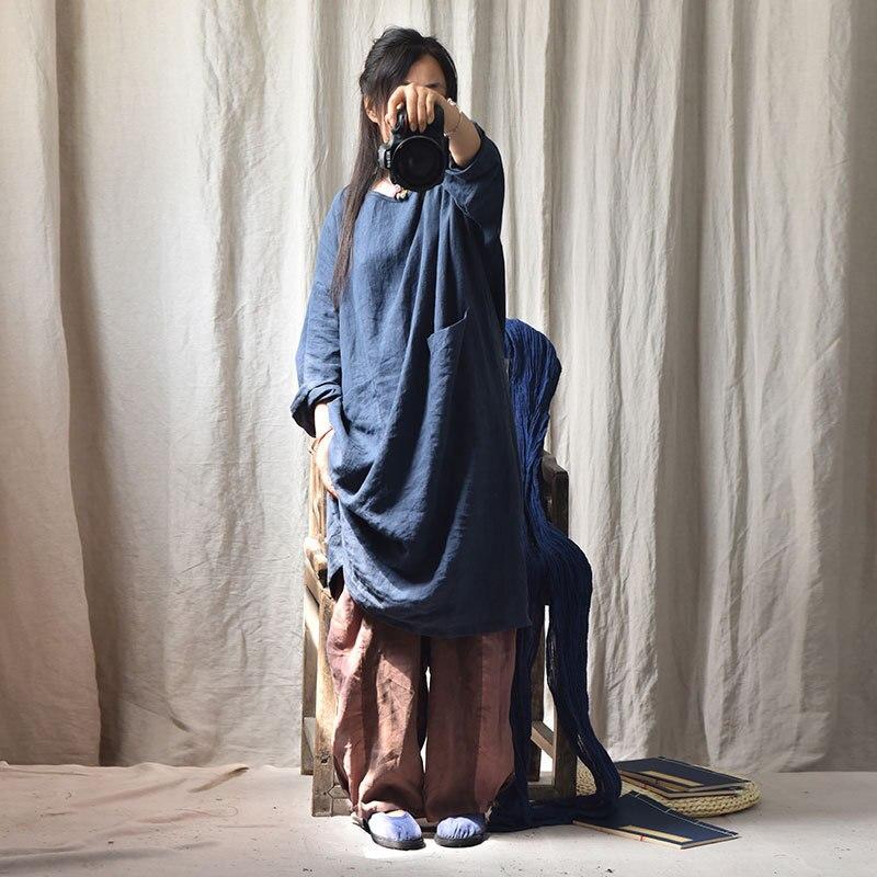 ผู้หญิงสีทึบ Retro ชุดผ้าลินินสุภาพสตรีฤดูใบไม้ร่วง Flax Plus ขนาด Robe หญิง 2019 ฤดูใบไม้ร่วงฤดูใบไม้ผลิ Vintage-ใน ชุดเดรส จาก เสื้อผ้าสตรี บน   1