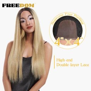 Image 1 - 自由合成レースフロントウィッグ 40 インチ晩餐ロング深い自然波オンブルブロンド 613 色の髪のかつら女性ファッション
