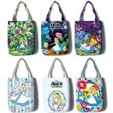Alice in Wonderland Women Shopping Bag Cartoon Female Canvas Shoulder Bag Handbag Reusable Foldable Eco Grocery Totes Bags