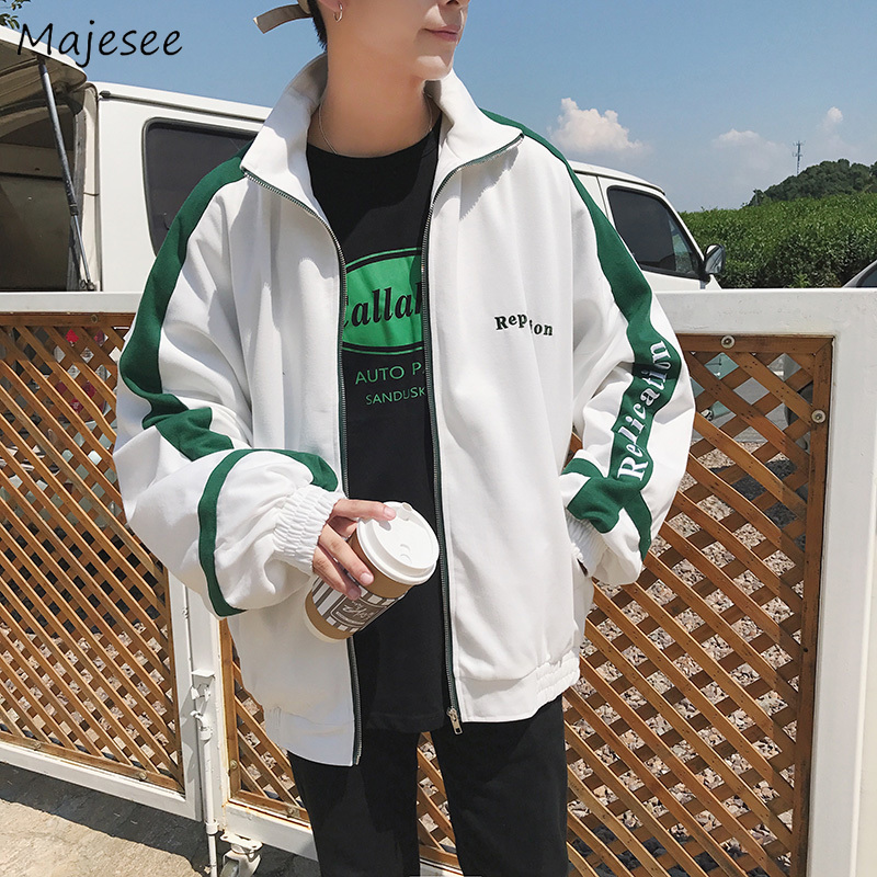 Jackets Men Plus Size Turn-down Collar Loose Zipper Letter Printed Simple All-match Korean Style Coats Mens Ulzzang Clothing