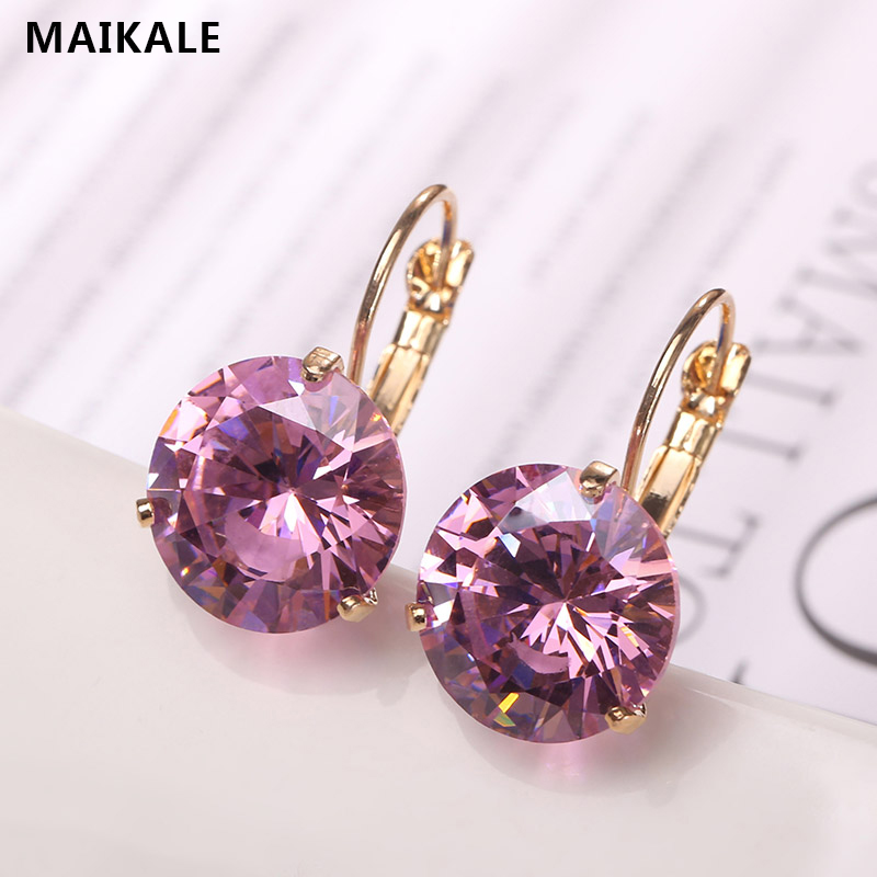 MAIKALE 12MM Korean Simple AAA Cubic Zirconia New Copper Plated Gold Temperament Stud Earring For Women Gifts