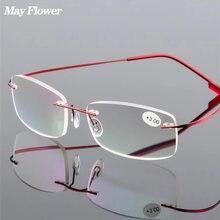 Может цветок Титан сплава очки для чтения без оправы светильник