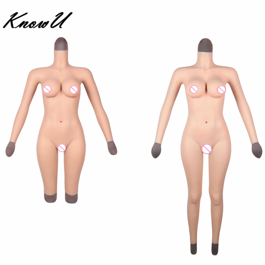 KnowU D Cup Silicone Full Body Suit With Arms and neck Transgirl drag queen tranny Crossdressers Transgender image