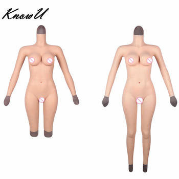 KnowU D Cup Silicone Full Body Suit With Arms and neck Transgirl drag queen tranny Crossdressers Transgender