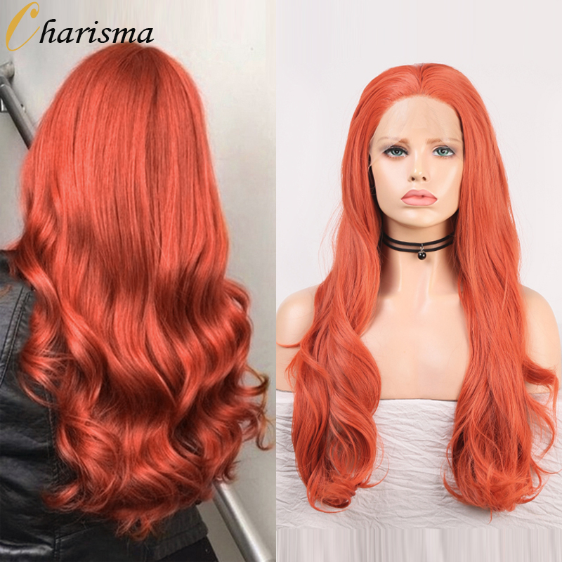 Charisma Body Wave-peluca con malla frontal s, peluca roja, peluca sintética con malla frontal, pelo de fibra de alta temperatura, para mujeres