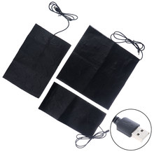 Tapis chauffant USB 5V en Fiber de carbone, chauffe-mains, Film chauffant électrique pour l'hiver, fièvre infrarouge, 1/2/4 pièces