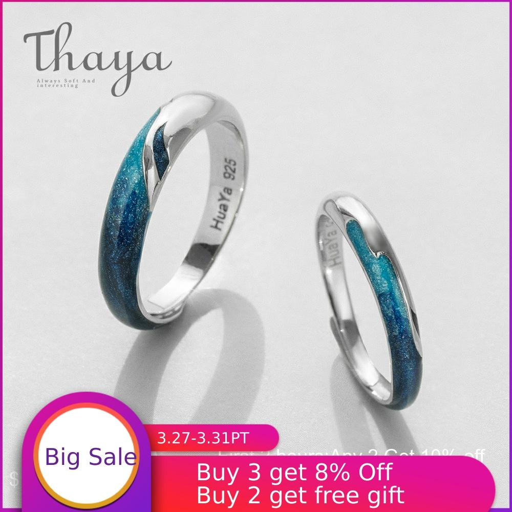 Thaya Bright Shining River Emerald Rings S925 Silver Circular Soft Blue Romantic Jewelry Ring For Women Elegant Simple Gift