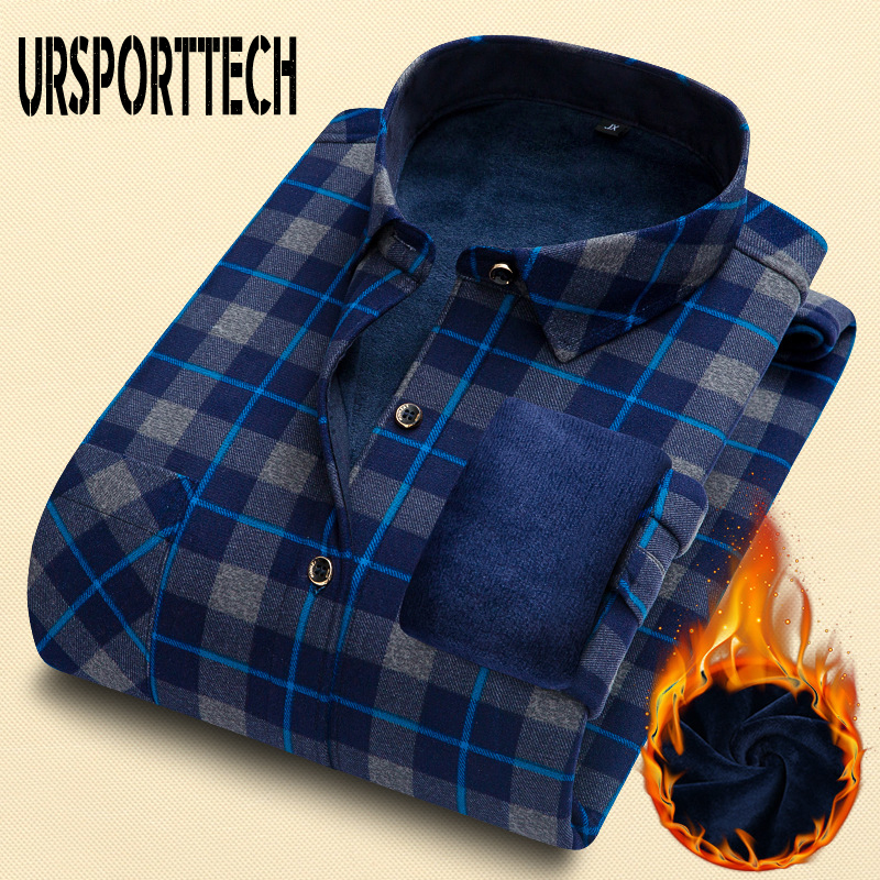 URSPORTTECH Autumn Winter Men Shirt Long Sleeve Slim Shirt Men Thickening Warm Plaid 20 Colors Male Social Shirt Clothing L-4XL