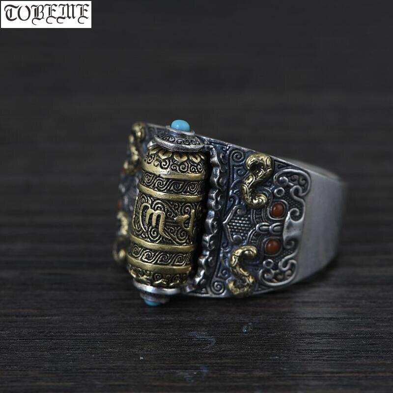 Кольцо из серебра 925 пробы ручной работы, тибетское Молитвенное Колесо, буддийский Ом Мани Падме, кольцо, удача, поворотный человек, изменяем